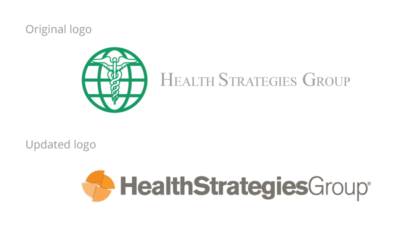 Health Strategies Group logo comparison with old logo
